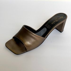 ROBERT CLERGERIE Bronze Leather Mules